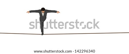 High resolution concept or conceptual 3D human male or businessman walking on rope isolated on white background banner,metaphor to balance,danger,risk,success,dangerous,equilibrium,acrobat,courage,job - stock photo