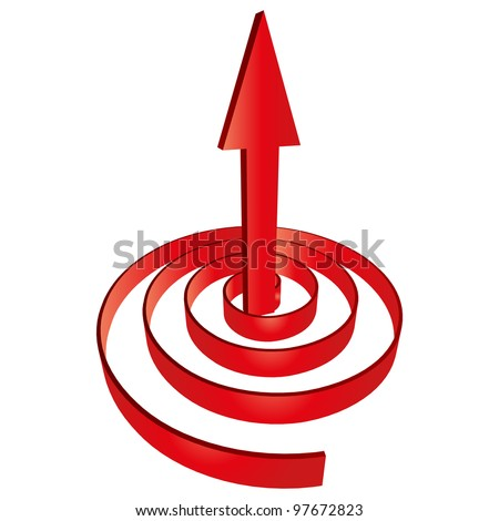 High resolution concept or conceptual 3D red abstract arrow pointing up in a spiral as a metaphor for business,success,growth, progress,profit,grow,goal or designs, isolated on white background