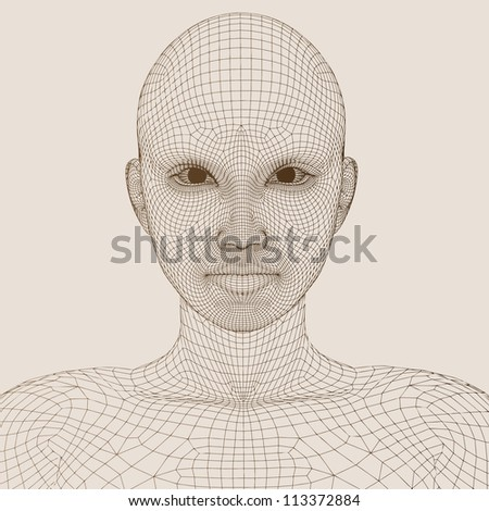 High resolution concept or conceptual 3D wireframe human female head isolated on beige background as metaphor for technology,cyborg,digital,virtual,avatar,science,fiction,future,mesh,vintage abstract - stock photo
