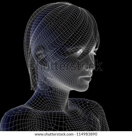 High resolution concept or conceptual 3D wireframe human female head isolated on black background as metaphor for technology,cyborg,digital,virtual,avatar,model,science,fiction,future,mesh or abstract