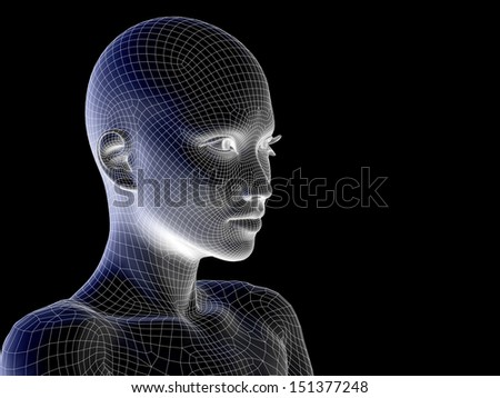 High resolution concept or conceptual 3D wireframe human female head isolated on black background as metaphor for technology,cyborg,digital,virtual,avatar,model,science,fiction,future,mesh or abstract - stock photo