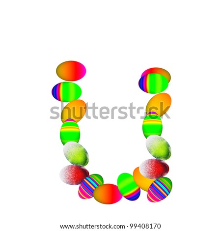 High resolution concept or conceptual font made of colorful Easter eggs isolated on white background,for spring,holiday,art,fun,festive,happy,cute,funny,celebration,religion,ornament or faith designs - stock photo