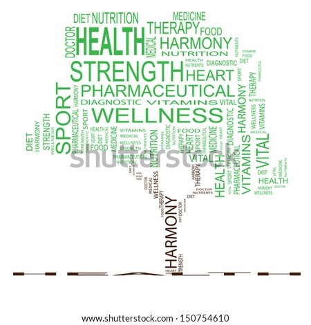 High resolution concept or conceptual green text word cloud or tagcloud as a tree isolated on white background as metaphor for health,nutrition,diet,wellness,body,energy,medical,sport,heart or science - stock photo