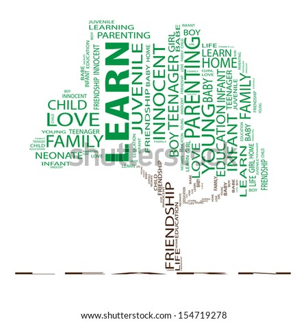 High resolution concept or conceptual green text word cloud or tagcloud as a tree isolated on white background as a metaphor for child,family,education,life,home,love and school learn or achievement - stock photo