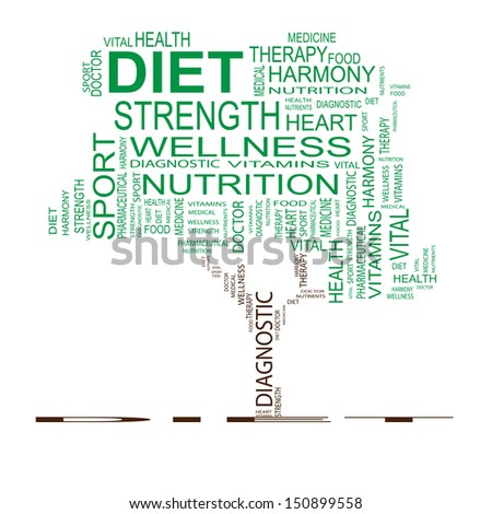 High resolution concept or conceptual green text word cloud or tagcloud as tree isolated on white background as metaphor for health,nutrition,diet,wellness,body,energy,medical,sport, heart or science
