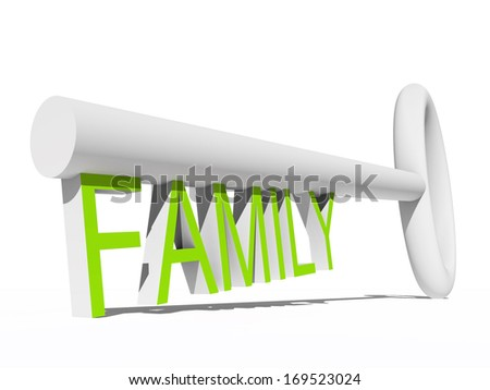 High resolution concept or conceptual green white 3D key isolated on white background as a metaphor for child,family,education,life,home,key,love. Also for school, learn,wisdom, success or achievement - stock photo