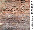 High resolution concept or conceptual old vintage brick wall background pattern.A textured surface of aged brickwork for retro, ancient,surface,masonry house facade for architecture or construction - stock photo