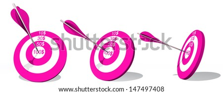 High resolution concept or conceptual pink target with dollarset  and an arrow in center isolated on white background, metaphor to money,business,success,competition,goal,achievement,dart,luck or win - stock photo