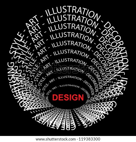 High resolution concept or conceptual red and white round text wordcloud or tagcloud isolated on black background as metaphor for design,graphic,idea ,style,creative,artist,art,decor or abstract - stock photo