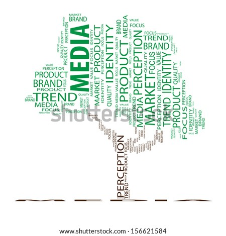 High resolution concept or conceptual tree word cloud on white background as metaphor for business,brand,trend,media,focus,market,value,product,advertising or customer.Also for corporate wordcloud