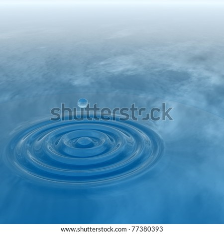 High resolution conceptual blue water drop falling, generating a natural background