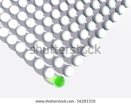 High resolution conceptual crowd of spheres with one special green sphere as leader
