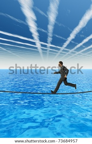 High resolution conceptual 3D businessman running on a rope above the sea. The man is a render of a virtual 3D model, ideal for business concepts and designs