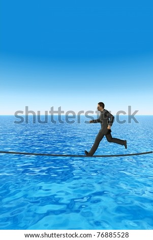 High resolution conceptual 3D businessman running on a rope above the sea. The man is a render of a virtual 3D model.