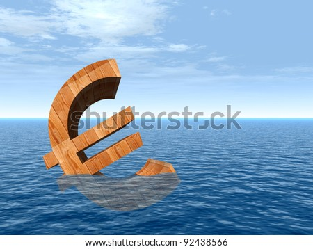 High resolution conceptual 3D currency euro sign or simbol sinking in water,sea or ocean as a concept for European crisis. It is a metaphor for financial,banking, economy,problem,danger or risk design