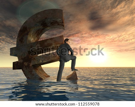 High resolution conceptual 3D currency euro sign or symbol sinking in water with a businessman in sea or ocean as a concept for European crisis or as a metaphor for financial,banking,economy at sunset - stock photo