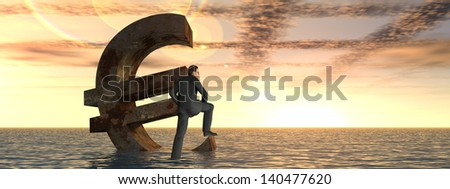 High resolution conceptual 3D currency euro symbol sinking in water,sea or ocean as a concept for European crisis.A metaphor for financial,banking,businessman,economy,problem,danger,risk sunset banner - stock photo