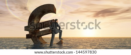 High resolution conceptual 3D currency euro symbol sinking in water,sea or ocean as concept for European crisis,metaphor for financial,banking,businessman,economy,problem,danger,risk at sunset banner - stock photo