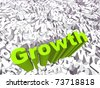 High resolution conceptual 3D green text on a background of white texts as a crowd. The text says growth, ideal for business designs. - stock photo