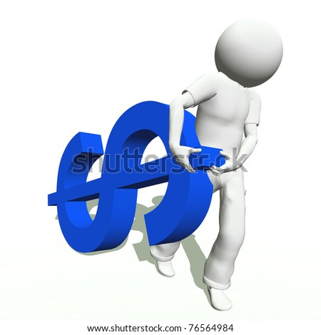 High resolution conceptual 3D human carrying a blue dollar symbol, isolated on white background.It is a metaphor ideal for business or banking design - stock photo
