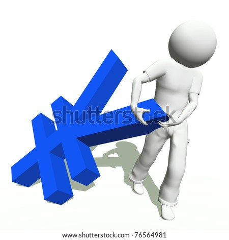 High resolution conceptual 3D human carrying a blue yen symbol, isolated on white background.It is a metaphor ideal for business or banking design