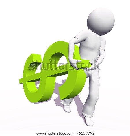 High resolution conceptual 3D human carrying a green dollar symbol, isolated on white background.It is a metaphor ideal for business or banking design - stock photo