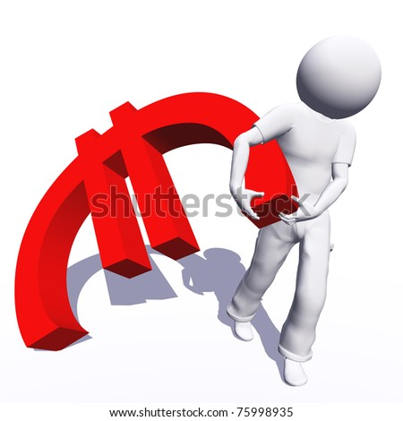 High resolution conceptual 3D human carrying a red euro symbol, isolated on white background.It is a metaphor ideal for business or banking design - stock photo