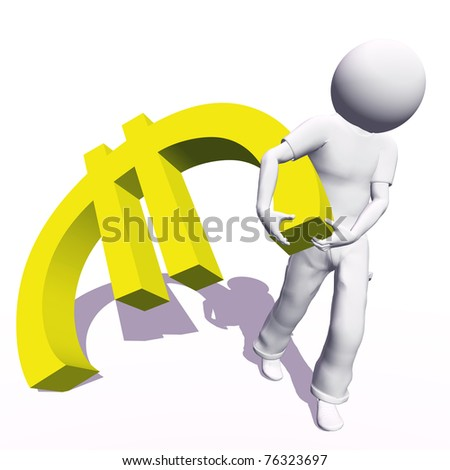 High resolution conceptual 3D human carrying a yellow euro symbol, isolated on white background.It is a metaphor ideal for business or banking design - stock photo