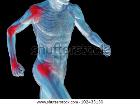 High resolution conceptual 3D human ideal for anatomy,medicine and health designs, isolated on black background. It is a man made of a skeleton and a transparent body as in a x-ray - stock photo