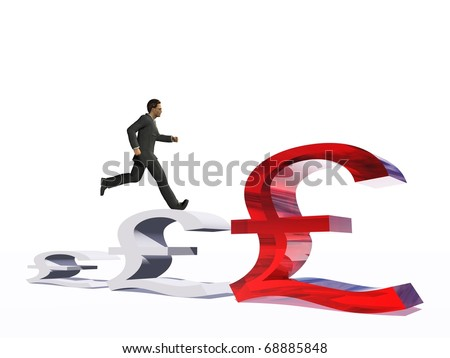 High resolution conceptual 3D human running on a 3D graphic made of money symbols. The man is a render of a virtual 3D model.