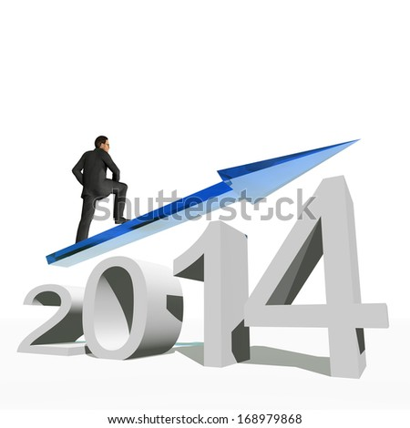 High resolution conceptual 3D 2014 year with a growing arrow isolated on white background with a business man surfing. A metaphor for economy, finance, progress,success,improvement,profit designs. - stock photo