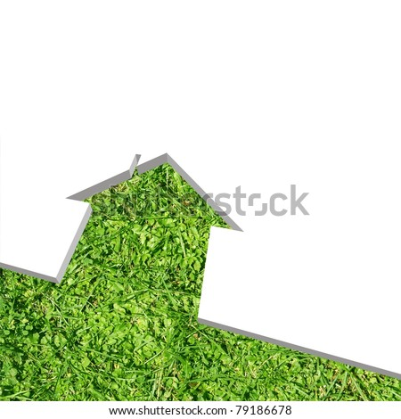High resolution conceptual green grass house background isolated on white, ideal for ecology, green or natural designs