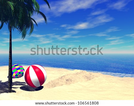 High resolution conceptual island with beach ball in blue sea water with a blue sky background - stock photo