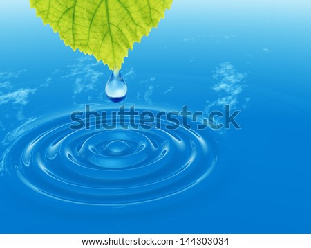 High resolution conceptual water or dew drop falling from a green fresh leaf on a blue clear water making waves. It si a concept ideal for summer,spring, nature or natural designs and also for ecology - stock photo