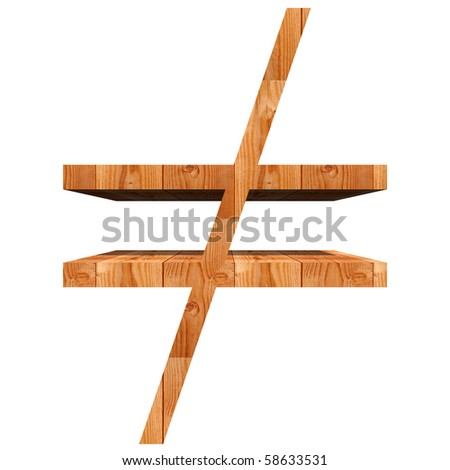 High resolution conceptual wood symbol isolated on white background