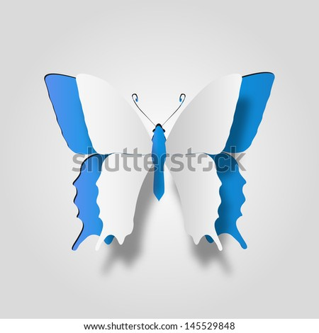 High resolution 3D abstract concept or conceptual white paper with blue background butterfly shape or symbol, metaphor to spring,summer,art,beauty,education,elegance,paperwork,card,creative or sticker - stock photo