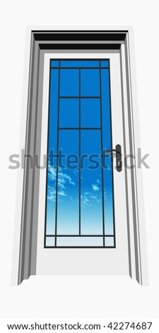 high resolution 3D closed door, isolated on white, over a natural sky