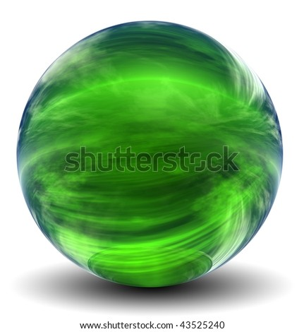 High resolution 3D green glass sphere with shadow isolated on white, reflecting a sky with clouds - stock photo