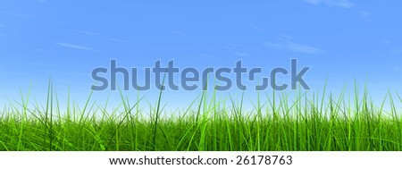 high resolution 3d green grass over a blue sky banner with white clouds as background and a clear horizon. Ideal for nature,green or sport designs. - stock photo