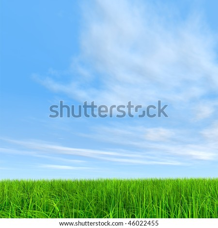 High resolution 3d green grass over a blue sky with white clouds as background and a clear horizon - stock photo