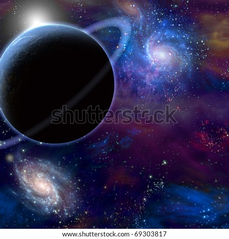 High Resolution 3D Illustration Planet and cosmos - stock photo