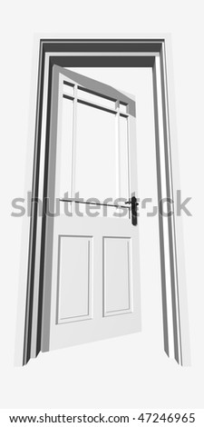 High resolution 3D opened door, isolated on white,ideal for business, conceptual, constructions or real estate designs