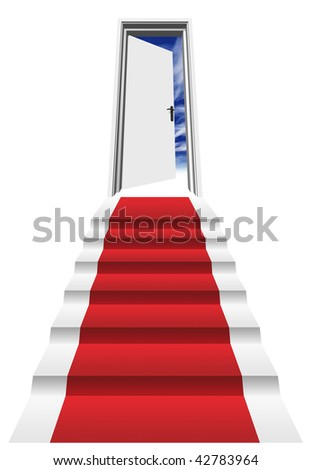 High resolution 3D red carpet on a stair in front of an opened door to a blue sky - stock photo
