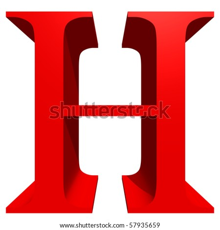 High resolution 3D red font isolated on white background - stock photo