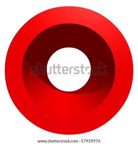 High resolution 3D red symbol isolated on white background