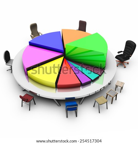 High resolution 3d render of a colorful pie chart graph illustrated as a round meeting conference table with different  kinds of seats for people who bring profits to the company - stock photo