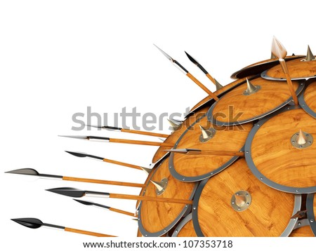 High resolution 3d Render of an Spartan Defense Formation like the roman Tortoise Formation. - stock photo