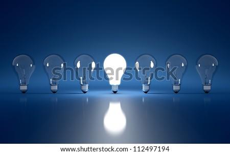 High Resolution 3d render of light bulb clipart on dark blue background - stock photo
