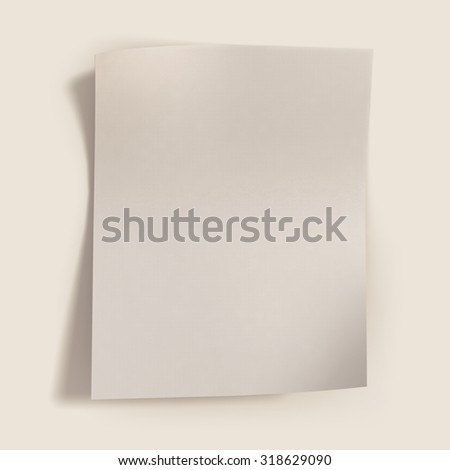 High-resolution 3d rendering, Beautiful shadows of normal blank paper. - stock photo