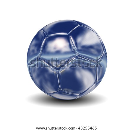 High resolution 3D silver soccer ball isolated on white background